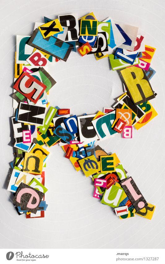 R Stil Design Bildung Schriftzeichen Lateinisches Alphabet Schnipsel Farbfoto mehrfarbig Freisteller Hintergrund neutral