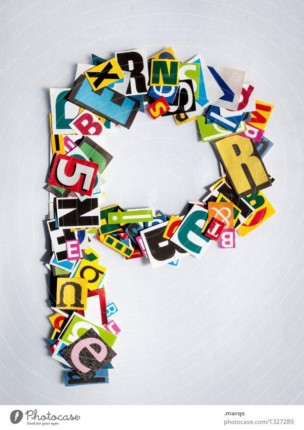 P Stil Design Bildung Schriftzeichen p Schnipsel Lateinisches Alphabet Farbfoto mehrfarbig Freisteller Hintergrund neutral