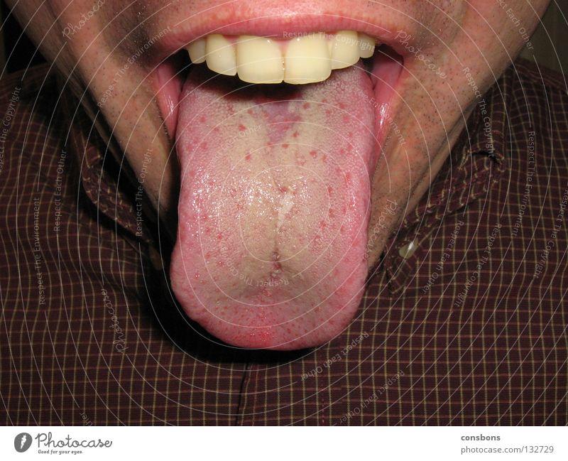 mach doch mal AH...... Lippen Mann Mund Zunge Bodenbelag lachen karriertes Hemd Zähne