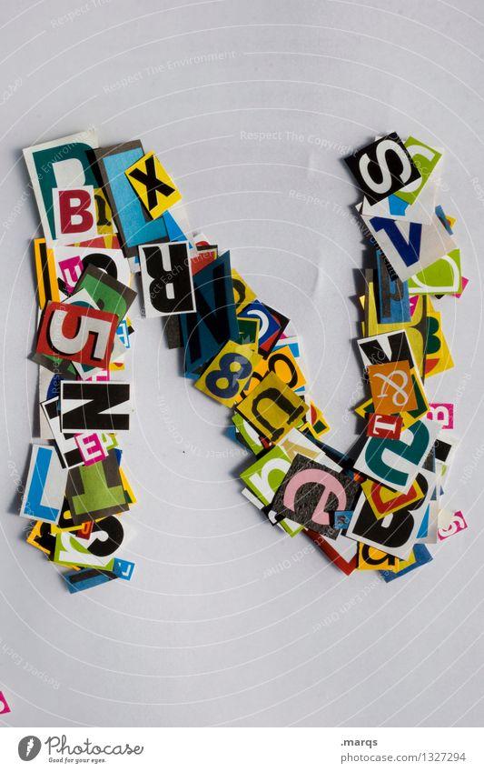 N Stil Design Bildung Schriftzeichen Schnipsel Lateinisches Alphabet Farbfoto mehrfarbig Freisteller Hintergrund neutral