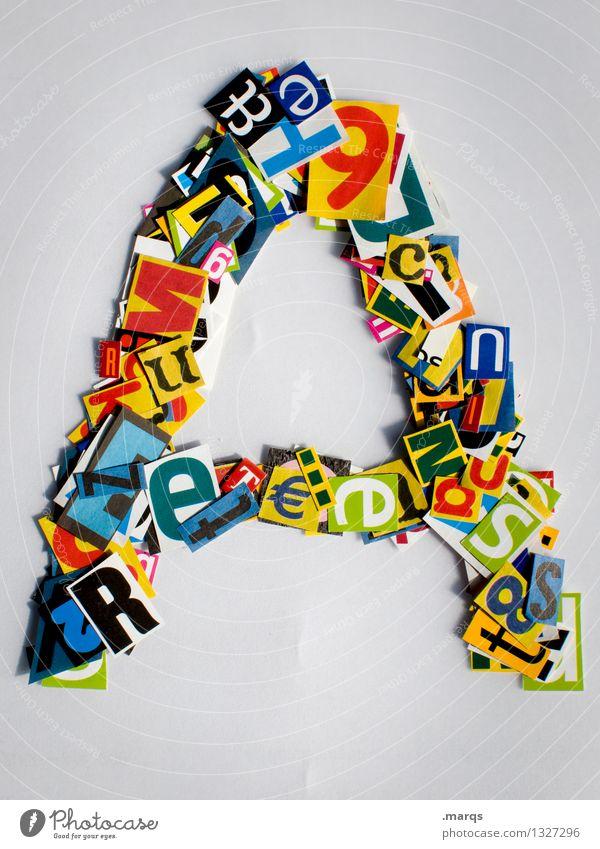 A Stil Design Bildung Schriftzeichen a Lateinisches Alphabet Schnipsel Farbfoto mehrfarbig Freisteller Hintergrund neutral