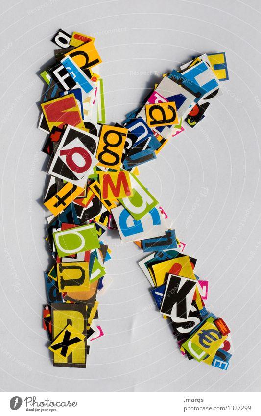 K Stil Design Bildung Schriftzeichen Lateinisches Alphabet Schnipsel k Farbfoto mehrfarbig Freisteller Hintergrund neutral
