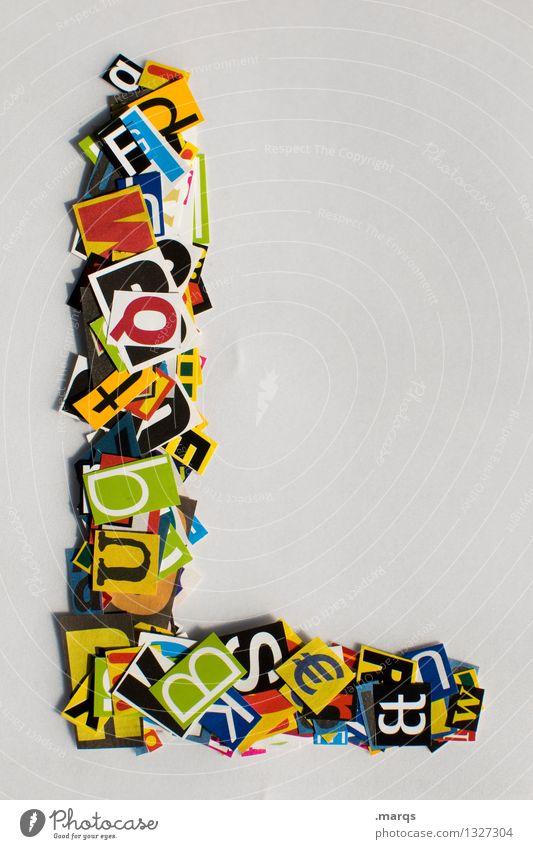 L Stil Design Bildung Schriftzeichen Lateinisches Alphabet Schnipsel Farbfoto mehrfarbig Freisteller Hintergrund neutral