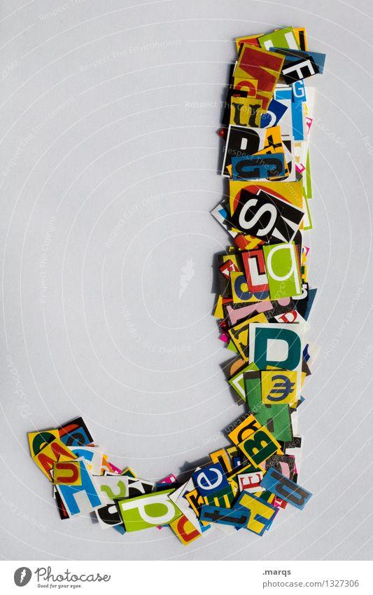 j Stil Design Bildung Schriftzeichen Schnipsel Lateinisches Alphabet Farbfoto mehrfarbig Freisteller Hintergrund neutral
