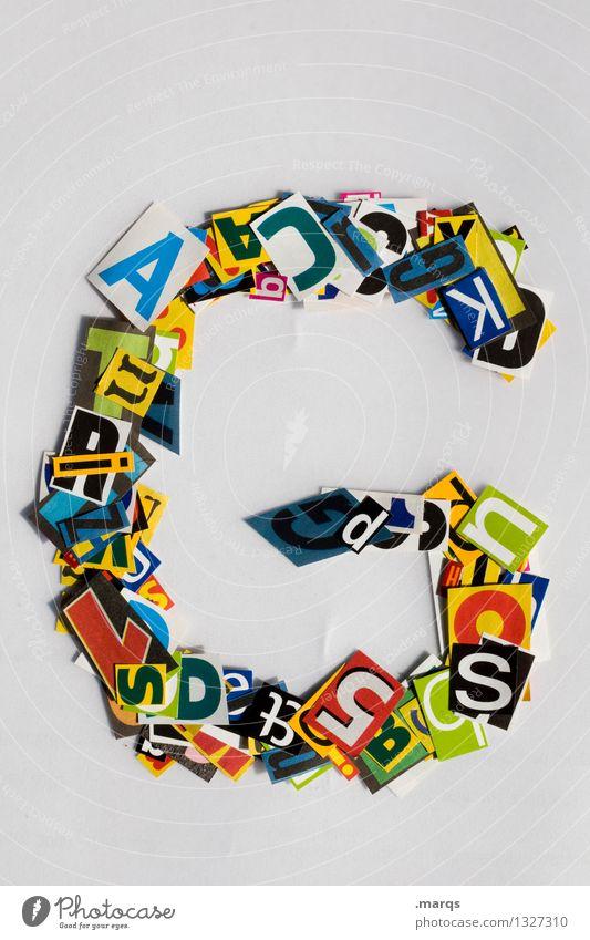 G Stil Design Bildung Schriftzeichen Schnipsel Lateinisches Alphabet Farbfoto mehrfarbig Freisteller Hintergrund neutral
