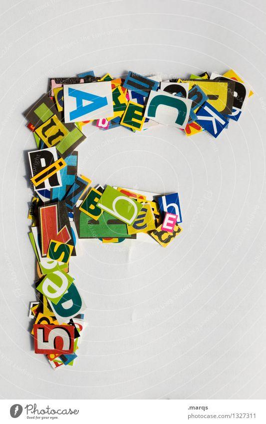F Stil Design Bildung Schriftzeichen Lateinisches Alphabet Schnipsel Farbfoto mehrfarbig Freisteller Hintergrund neutral