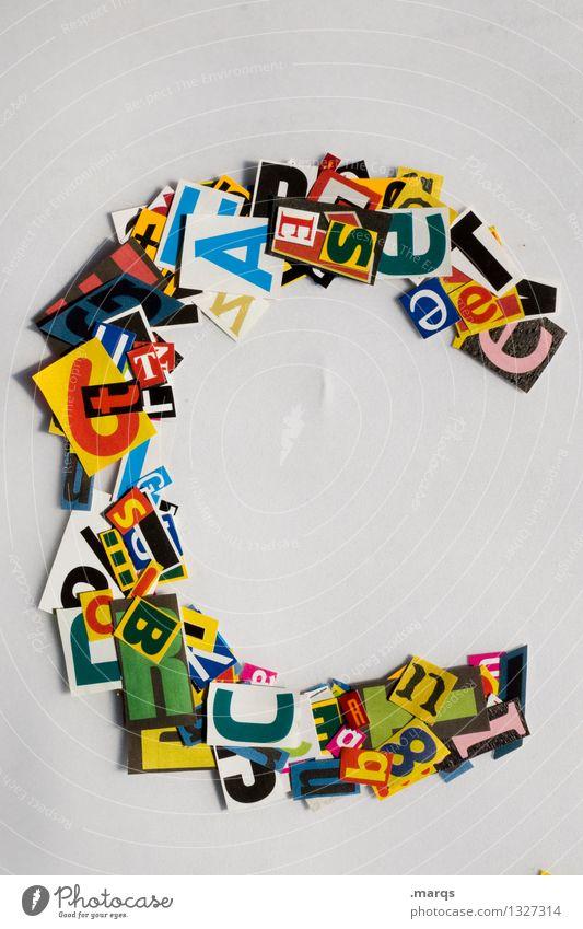 C Stil Design Bildung Schriftzeichen Lateinisches Alphabet Schnipsel Farbfoto mehrfarbig Freisteller Hintergrund neutral
