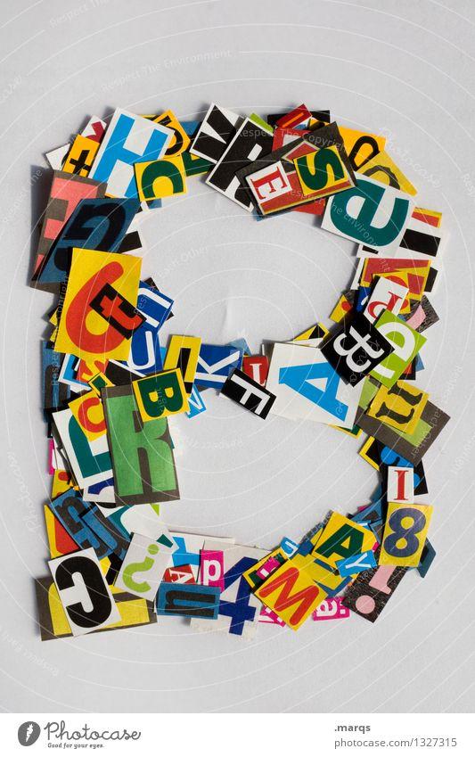 B Stil Design Bildung Schriftzeichen b Lateinisches Alphabet Schnipsel Farbfoto mehrfarbig Freisteller Hintergrund neutral