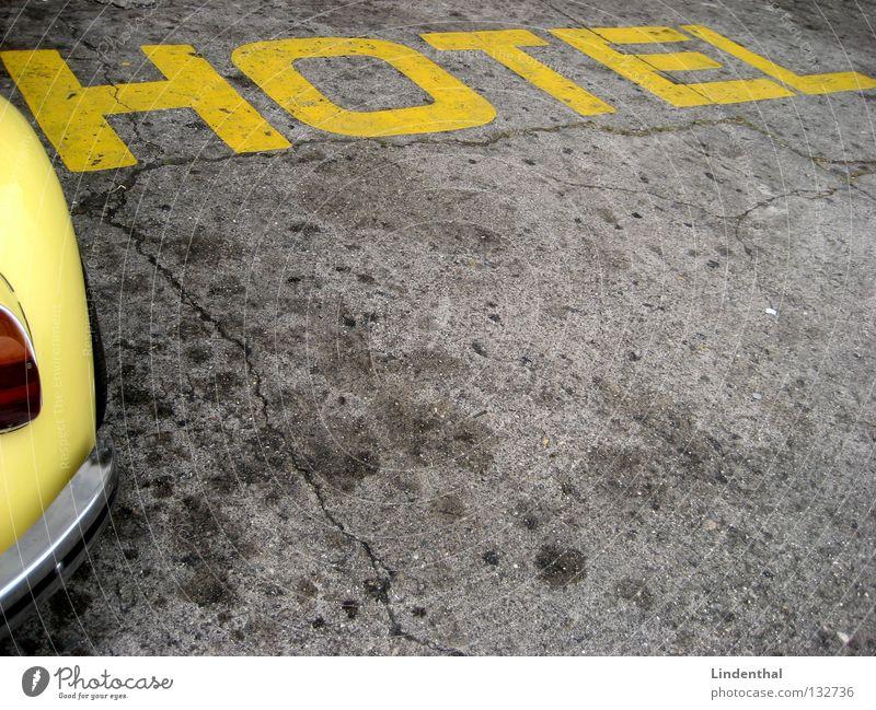 HOTEL CAR-STYLE KFZ gelb heiß Stil Verkehr Käfer PKW hot Straße Schriftzeichen Angelköder