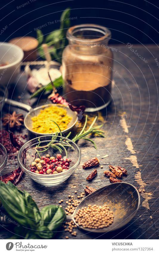 Orientalisch Kochen - scharfe Gewürze Natur Gesunde Ernährung gelb Leben Stil Hintergrundbild Lebensmittel Design Tisch Kräuter & Gewürze Küche Bioprodukte