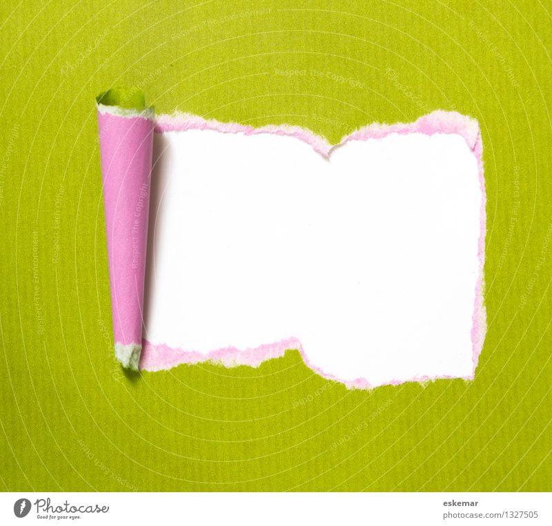 Überraschung grün weiß rosa Dekoration & Verzierung Schilder & Markierungen Hinweisschild Papier geheimnisvoll Überraschung Zettel Schreibwaren Ornament Warnschild