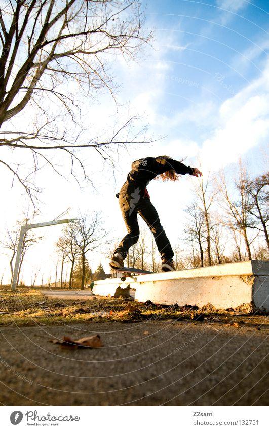 boardslide Aktion Skateboarding Zufriedenheit springen gestreift Teer Beton Licht Baum Weitwinkel Jugendliche Sport Geschwindigkeit Drehung Park Boardslide
