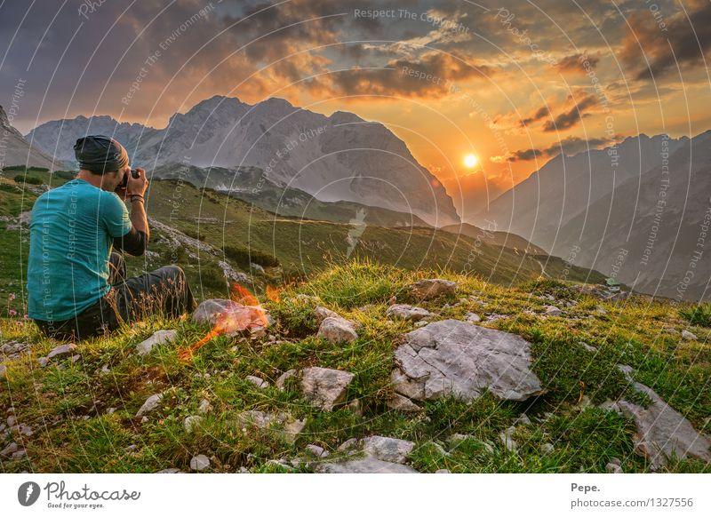 picture Hügel Felsen Alpen Berge u. Gebirge Gipfel orange Glück Zufriedenheit Sonnenuntergang grün Karwendelgebirge Dämmerung Panorama (Aussicht)