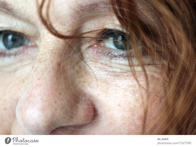 Hey! feminin Frau Erwachsene Leben Haare & Frisuren Gesicht Auge Nase 1 Mensch 30-45 Jahre rothaarig Locken Blick authentisch Freundlichkeit hell einzigartig