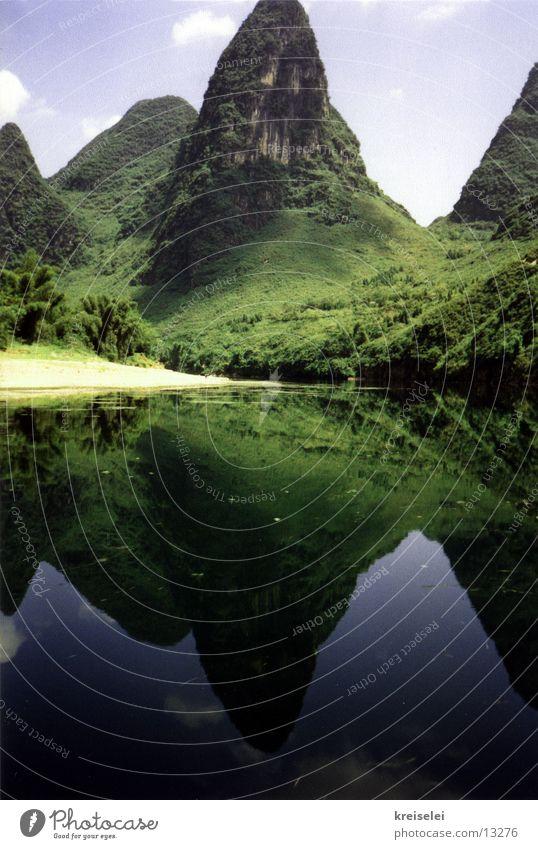 Zuckerhutberge Wasserspiegelung Ferien & Urlaub & Reisen China Los Angeles Guilinberge