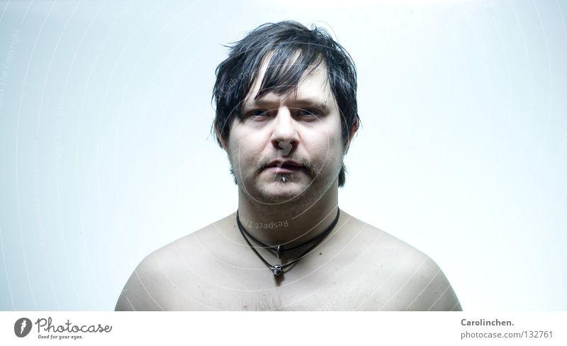 unnatürlich? Mann blau schwarz Farbe nackt Erwachsene Hintergrundbild neutral klinisch