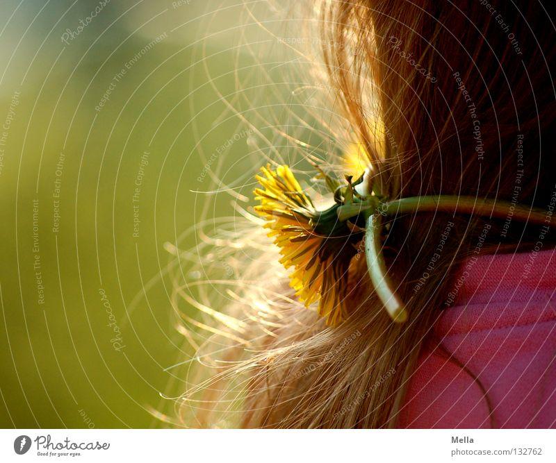 carpe diem II Glück Mädchen Haare & Frisuren 1 Mensch Umwelt Natur Frühling Pflanze Blume Blüte Löwenzahn Fröhlichkeit niedlich süß gelb grün rosa Lebensfreude