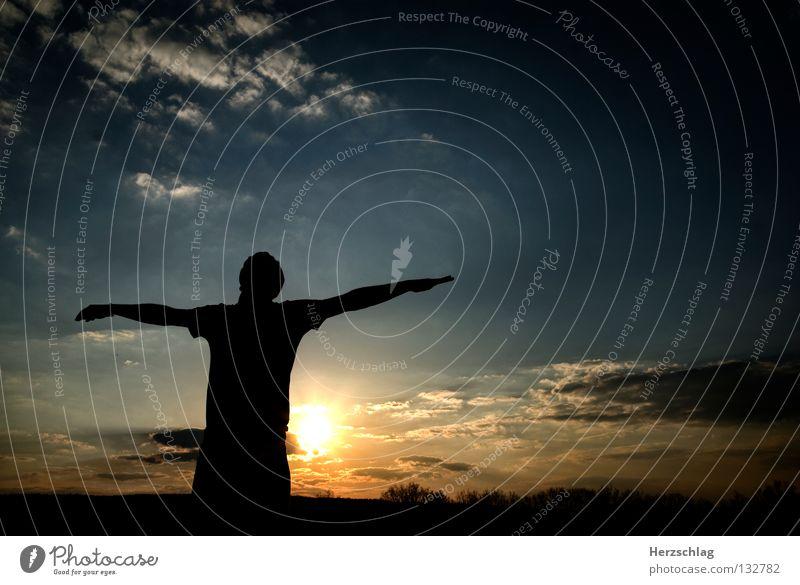 Du bist Frei ! Hand schwarz Gegenlicht Licht Sommer Physik Wolken weiß Luft Sauerstoff leicht Geborgenheit Himmel frei Webiste blau Gefühle Arme Sonne Kontrast