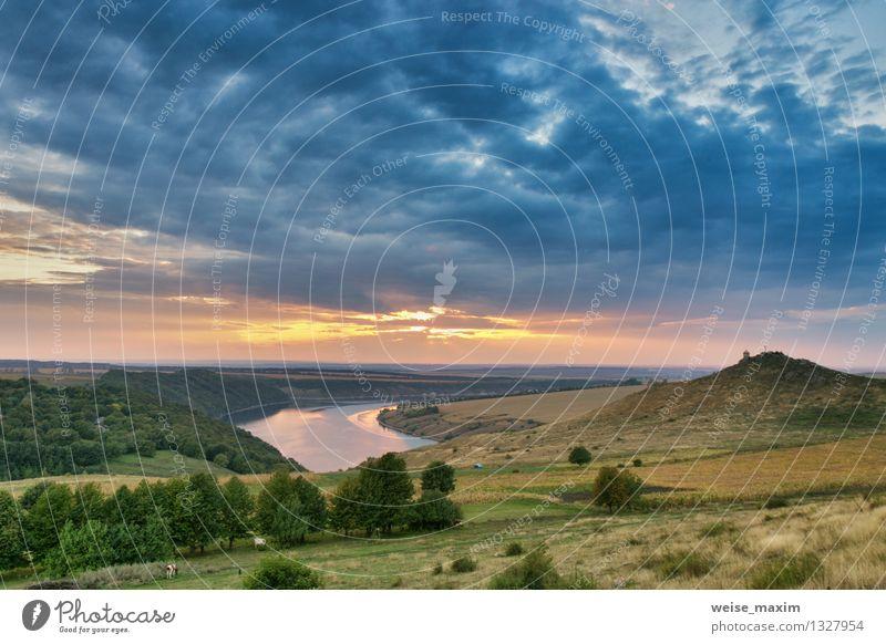 September auf dem Fluss Dniester Natur Landschaft Sand Wasser Himmel Wolken Gewitterwolken Sonnenaufgang Sonnenuntergang Herbst Wetter Wind Baum Gras Sträucher