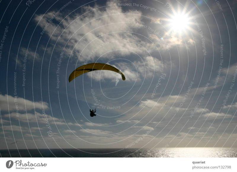 Freiheit Sonne Sommer Freude Sport Glück Gleitschirmfliegen Dänemark Extremsport