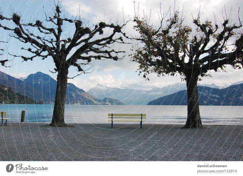 Ruhe Wasser Himmel Baum blau ruhig Wolken Einsamkeit gelb Erholung Herbst Berge u. Gebirge Frühling See hell Wetter Trauer