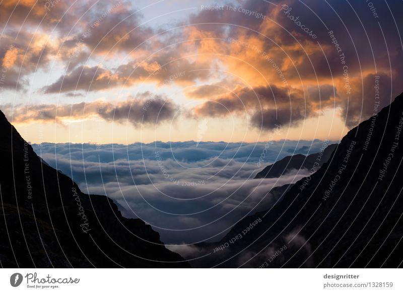 Wolkenmeer Himmel schön Sommer Erholung Meer ruhig Berge u. Gebirge Freiheit Stimmung träumen Wetter Idylle gold ästhetisch hoch