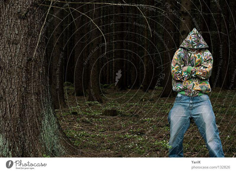 sternman Mann Hand Baum Freude Farbe Wald verrückt Stern (Symbol) Jeanshose Ast Hose Kot Jacke dumm Zweig Unsinn