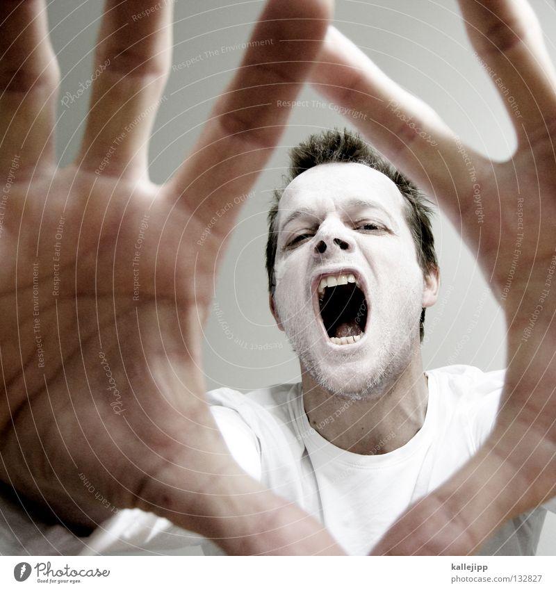 sieben Ass Tanztheater verrückt Krankheit Psychiatrie Tick Wut Tier Monster Mann weiß Schminke Bäcker Kalk Bart Lippen Hemd Pantomime Sonnencreme auffordern