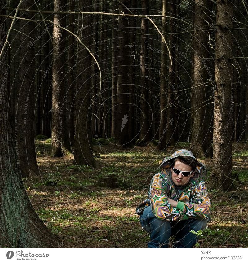 wood-star Mann Hand Baum Freude Wald Farbe sitzen verrückt Stern (Symbol) Coolness Brille Jeanshose Ast Kot Jacke Hose