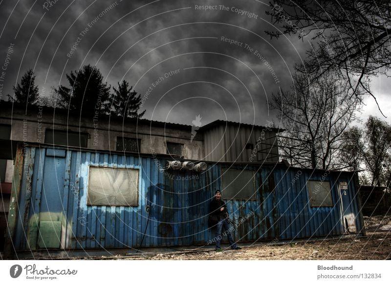 Containerdorf Himmel Wolken Einsamkeit dunkel Industrie verfallen Fotograf Container HDR