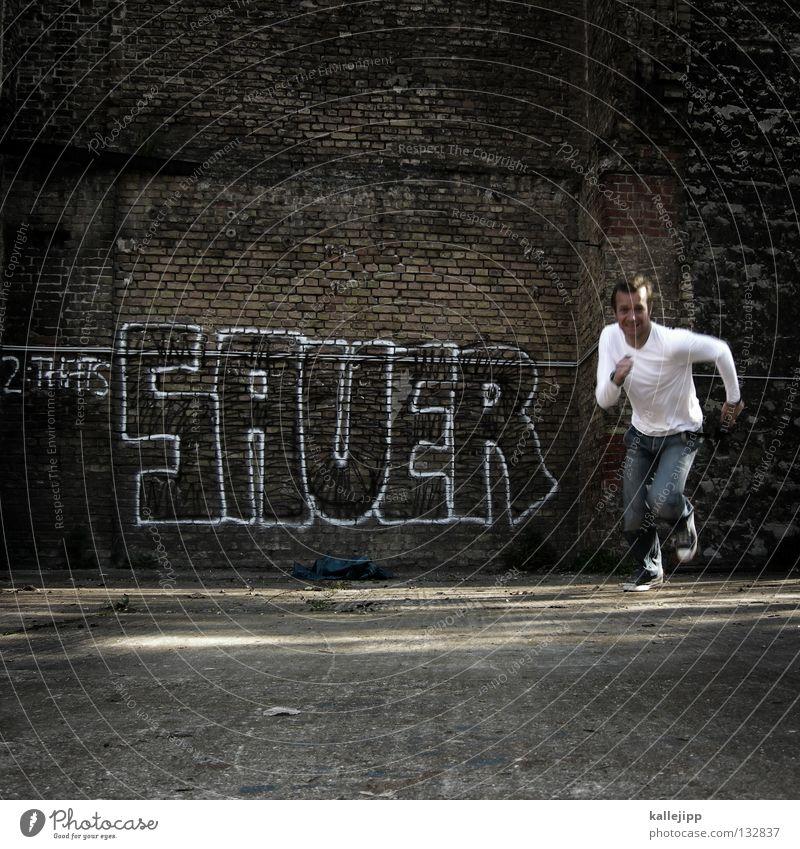 ... macht lustig Mensch Mann Ferien & Urlaub & Reisen Graffiti Wand Stein Mauer Kraft Angst laufen Aktion Lifestyle Macht Backstein rennen