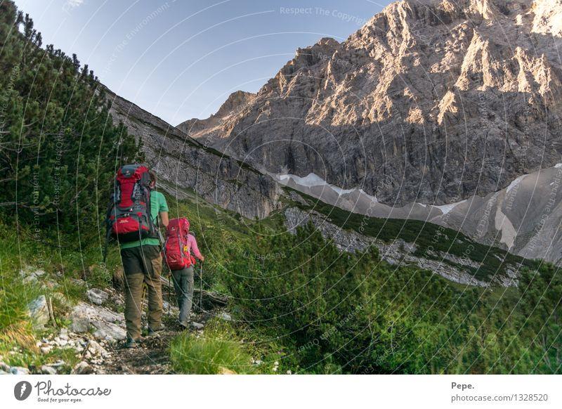 Zusammen Natur blau grün Baum Landschaft Berge u. Gebirge Umwelt Wege & Pfade Felsen wandern Sträucher Fitness Ziel Alpen Wolkenloser Himmel Österreich