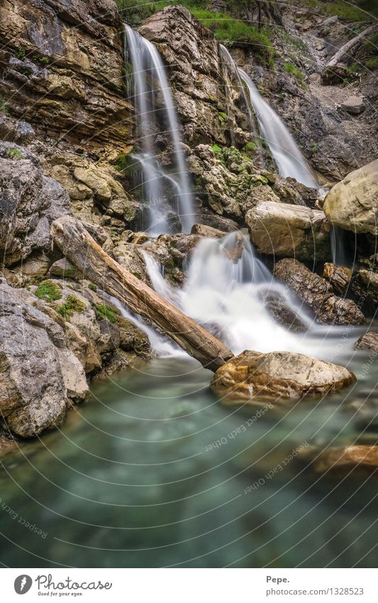 Wasser Natur blau grün Berge u. Gebirge Umwelt wild Kraft Fluss Baumstamm Moos fließen