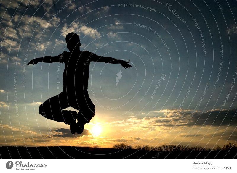 Du bist Frei ! II Himmel blau Hand weiß Sommer Wolken schwarz Gefühle Wärme Luft Arme frei Schweben leicht Zauberei u. Magie Sauerstoff