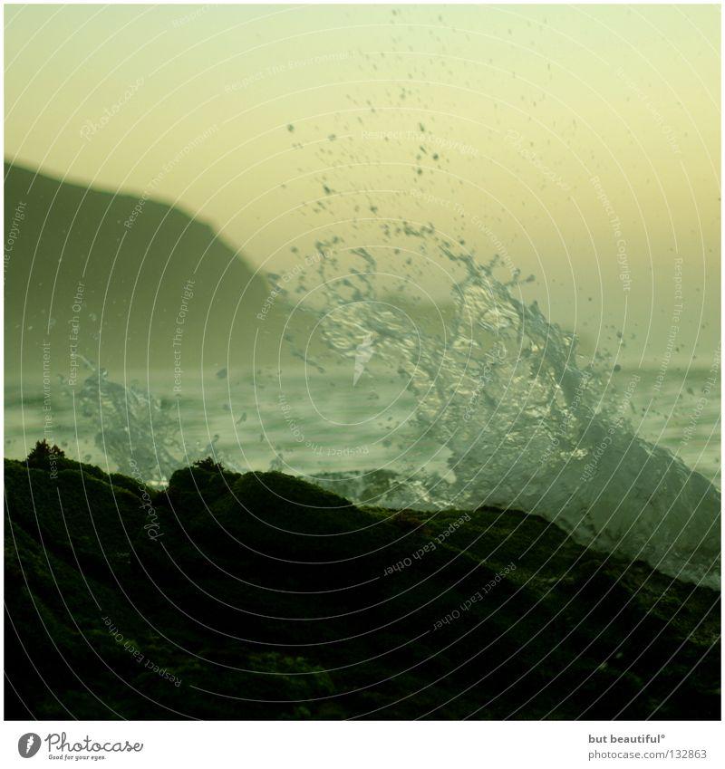 costa da morta° Meer grün Küste Brandung Wellen Gischt Spanien Sommer harmonisch Strand Bucht Costa da morta schön zeitlos