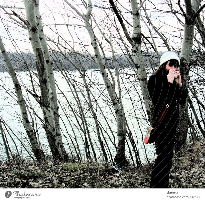Bazillenausflug Freizeit & Hobby ruhig feminin Mütze See Meer Krankheit Virus Überraschung Blick Erkältung Taschentuch Schniefen Wald Blatt Baum Birke krumm