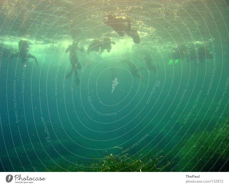 Wassertreten Wasser Meer Sommer Unterwasseraufnahme tauchen Taucher Schnorcheln Seegras Schnorchler