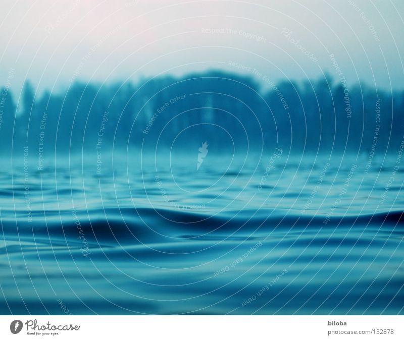 Einfach mal sein... See liquide Flüssigkeit Wellen weich zart ruhig beruhigend Erholung Nebel grau dunkel bedrohlich Trauer Einsamkeit leer Luft ursprünglich