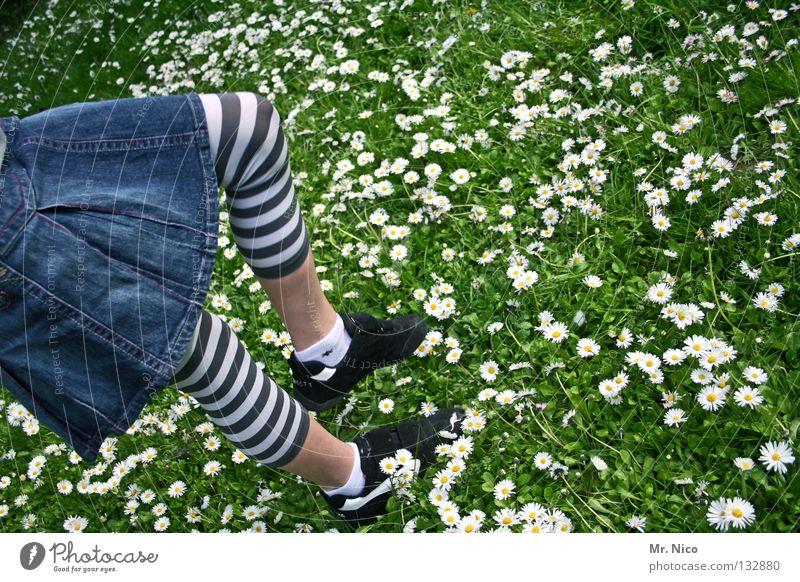 Grashüpfer Mädchen Schuhe Gänseblümchen Wiese Jeansrock gestreift sommerlich Blume Blüte springen hüpfen gehen treten weiß grün gelb Turnen Frühling Kind Freude