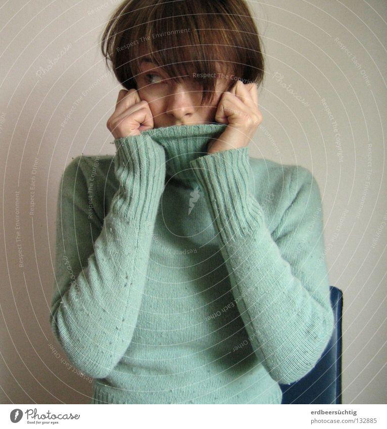 Trau dich! Frau Mensch Hand Gesicht Kopf Angst Nase vorwärts Prüfung & Examen Panik anonym fremd Schwäche ungewiss unsicher zögern