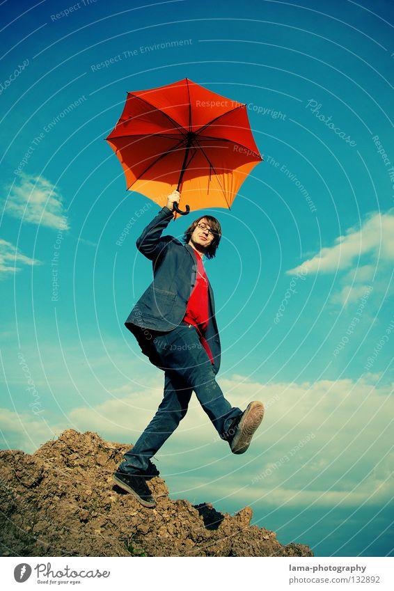 Welcome Mr. Poppins Mann Himmel Freude Wolken hell orange planen gehen laufen fliegen Erfolg Erde Aktion Luftverkehr Schutz fallen