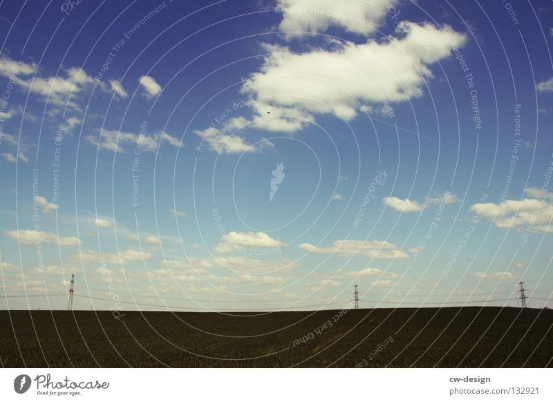 DREISAM. Wolken Spaziergang Pendler Luft atmen Gelände Medien minimalistisch Strommast Elektrizität Gras Wiese Feld Stimmung Blendeneffekt blenden Mediendesign