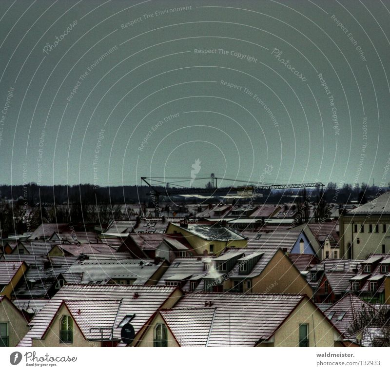 Dachlandschaft Stadt Winter Haus Schnee historisch Kran Altstadt Kleinstadt