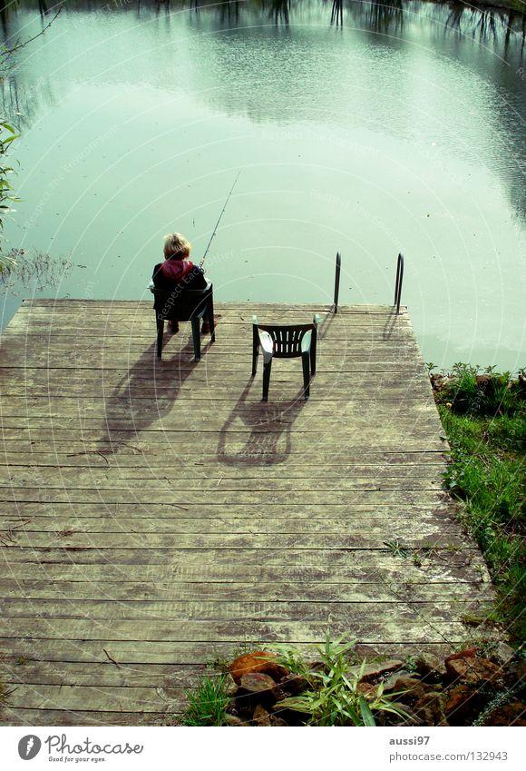 Vorgestern am See Erholung Kühlung Ferien & Urlaub & Reisen Bad Sitzgelegenheit Stimmung Angeln fangen Freizeit & Hobby Fisch Summertime Wasser 3 Stühle