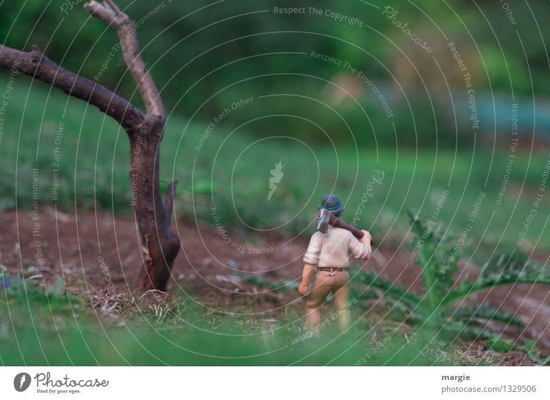 Miniwelten - Baumfäller Arbeit & Erwerbstätigkeit Beruf Handwerker Gartenarbeit Waldarbeiter Baum fällen Holzfäller Holzwirtschaft Landwirtschaft