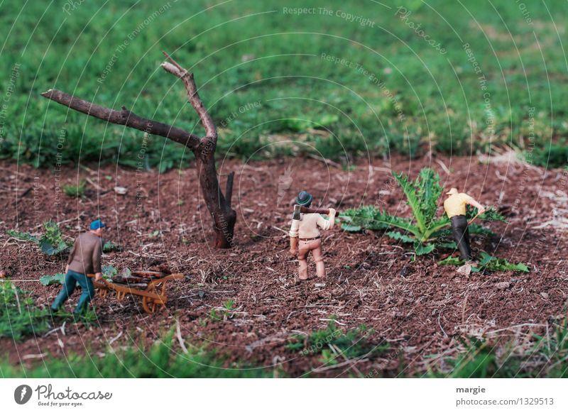 Miniwelten - Feldarbeit Mensch Natur Pflanze grün Baum Erwachsene Gras Garten braun Arbeit & Erwerbstätigkeit Park maskulin Erde Sträucher Baustelle