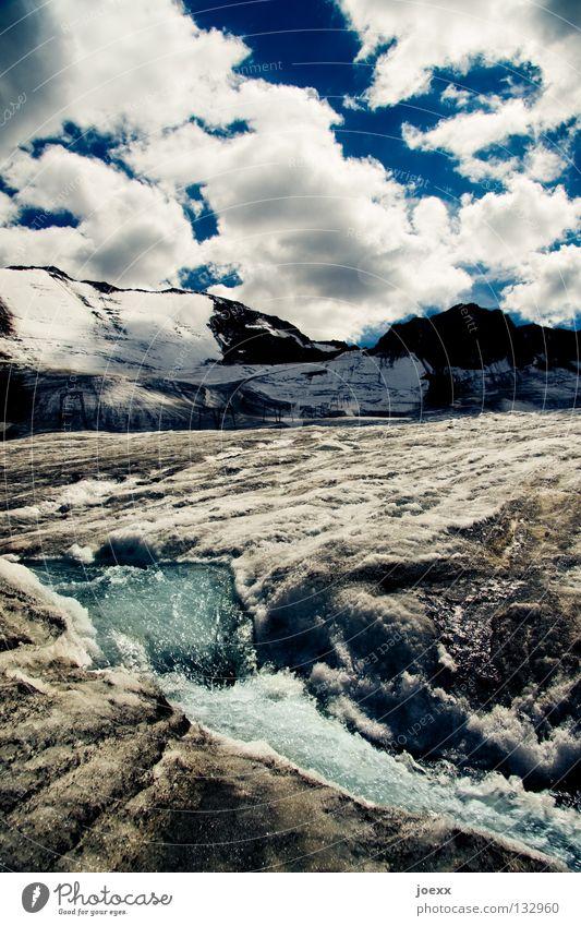 Abnehmender Vollgletscher Wasser Himmel blau Wolken Einsamkeit kalt Schnee Berge u. Gebirge Freiheit grau Eis braun Angst dreckig Wassertropfen Aussicht