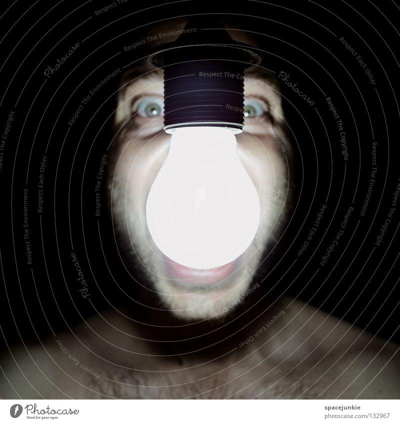 Light Mensch Mann Freude Gesicht schwarz dunkel hell Kraft Angst verrückt Elektrizität schreien Gewalt böse Glühbirne Freak