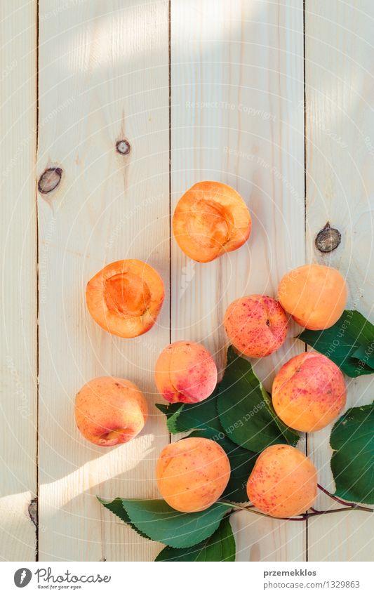 Frische Aprikosen gerade vom Garten auf Holztisch Natur grün Sommer Blatt gelb natürlich Lebensmittel orange Frucht frisch Aussicht Tisch Jahreszeiten lecker