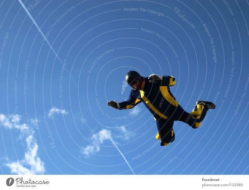 freier fall Himmel Freude Wolken Sport Leben springen Freiheit Zufriedenheit Flugzeug fliegen hoch Geschwindigkeit Aktion Elektrizität Luftverkehr Coolness